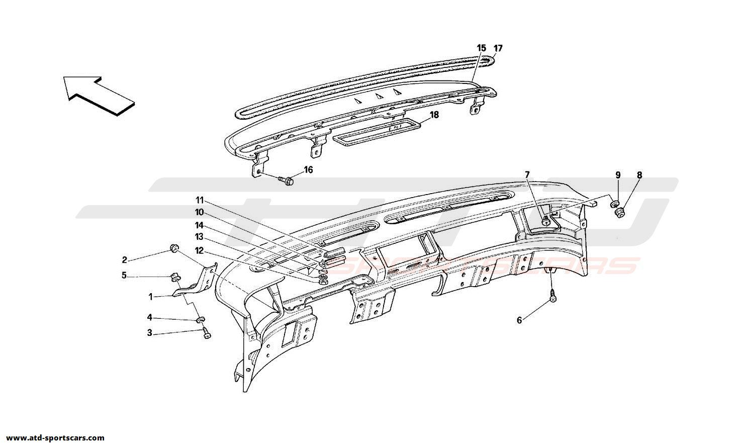 Ferrari 348 DASHBOARD - STRUCTURE AND SUPPORTS - Valid for USA-