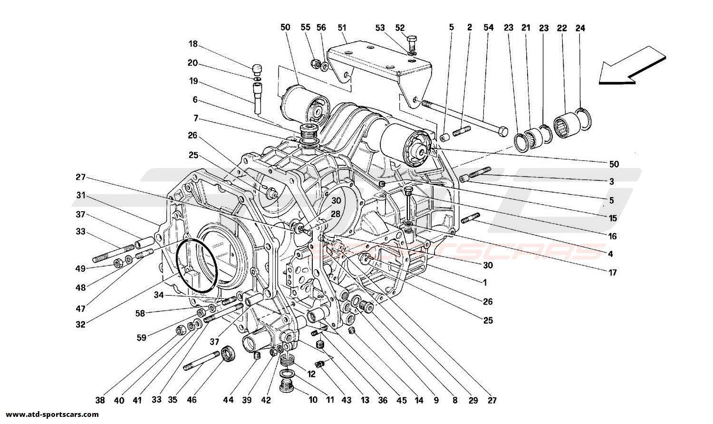 Ferrari 348 GEARBOX DIFFERENTIAL HOUSING AND INTERMEDIATE CASING