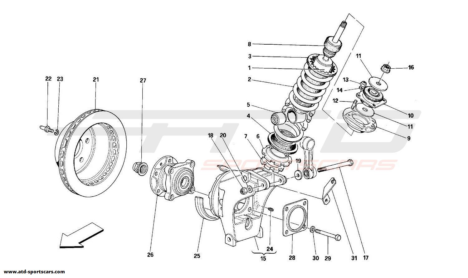 Ferrari 348 REAR SUSPENSION - SHOCK ABSORBER AND BRAKE DISC