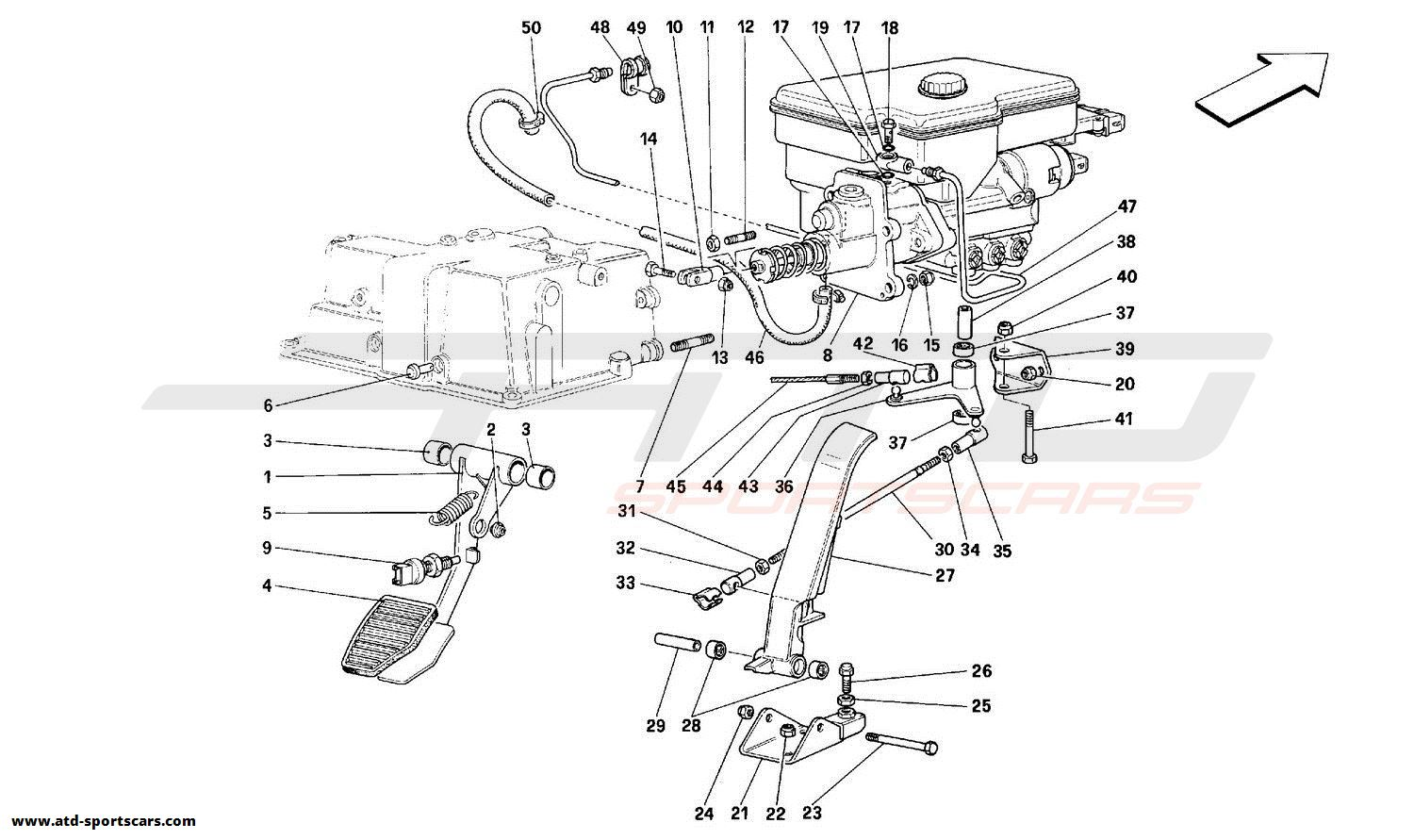 Ferrari 348 THROTTLE PEDAL AND BRAKE HYDRAULIC SYSTEM