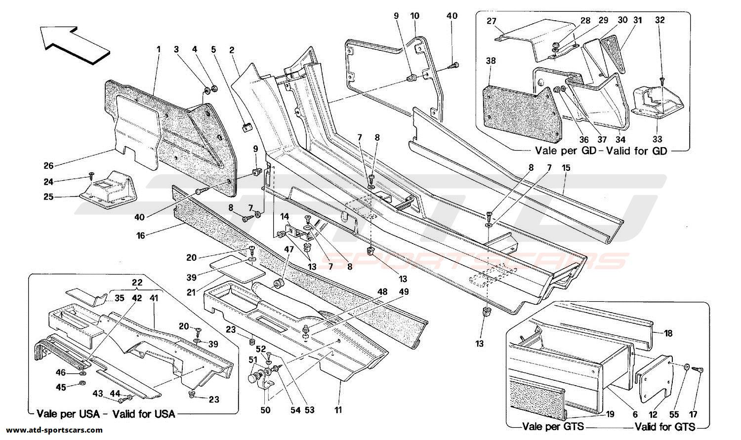 Ferrari 348 TUNNEL - FRAMEWORK AND TRIMS