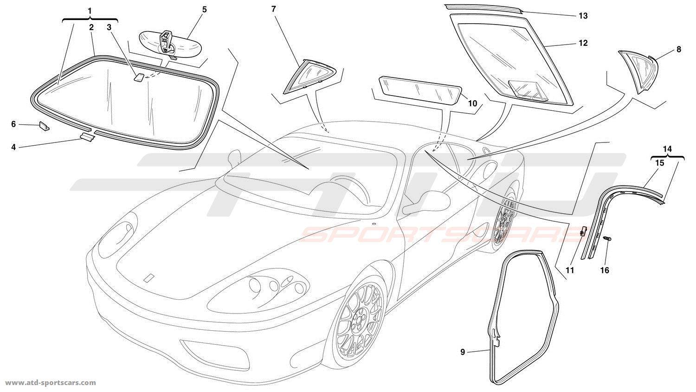 Ferrari 360 Challenge GLASSES AND GASKETS