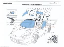Ferrari 458 Spider SCREENS, WINDOWS AND SEALS