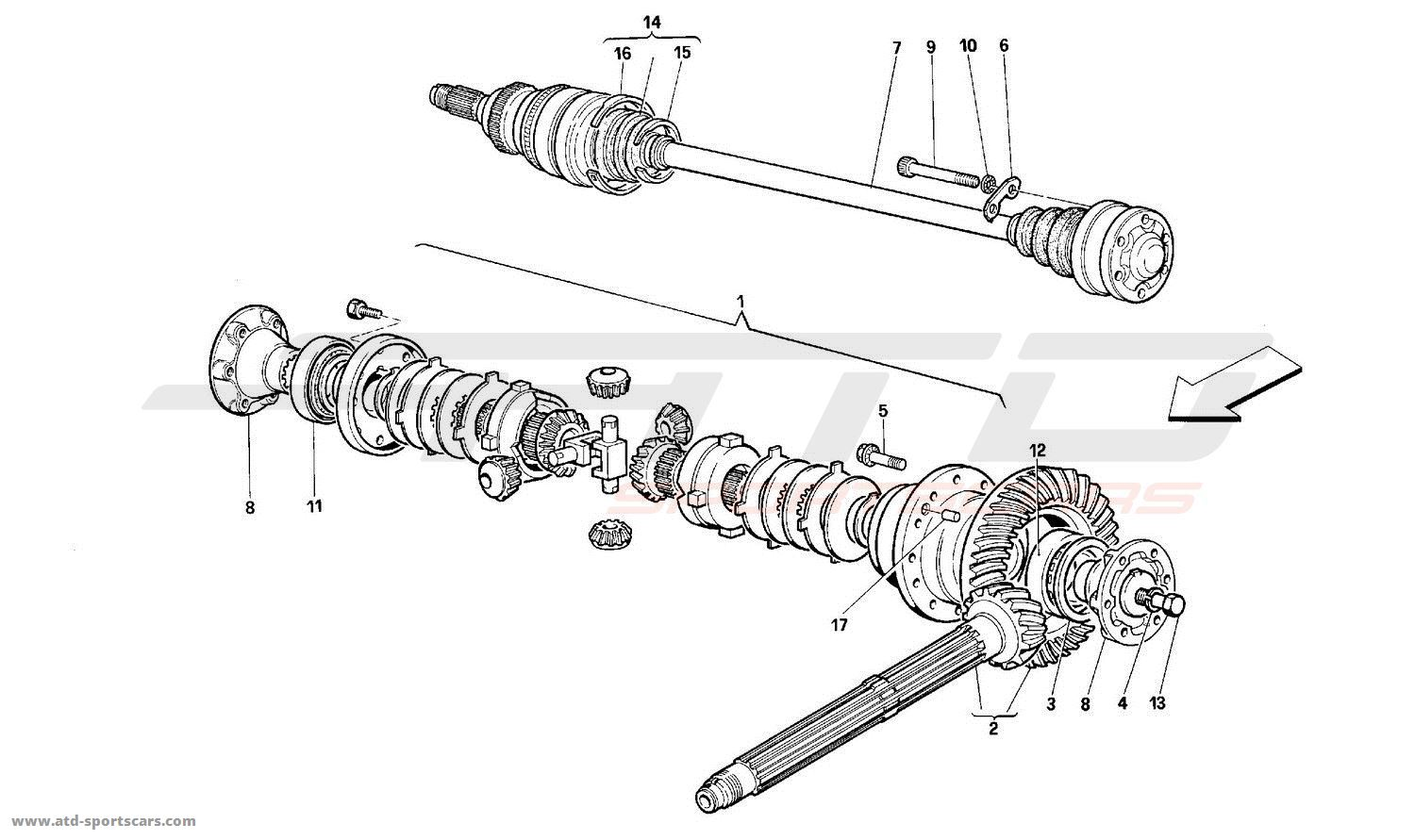Ferrari 512M DIFFERENTIAL AND AXLE SHAFTS