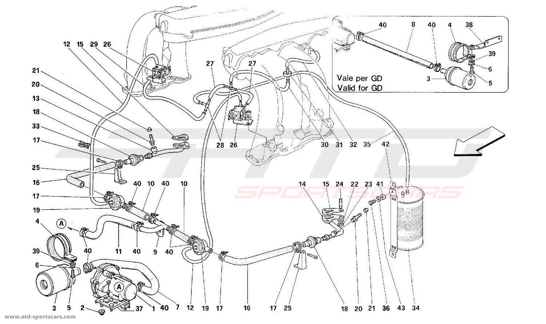 Ferrari 512M SECONDARY AIR PUMP AND LINES