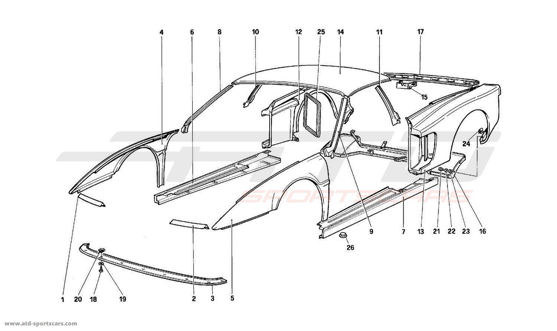 Ferrari 512 TR BODY - EXTERNAL COMPONENTS