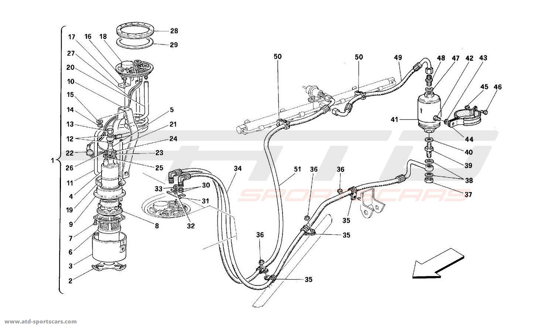 Ferrari 512TR FUEL PUMP AND PIPES