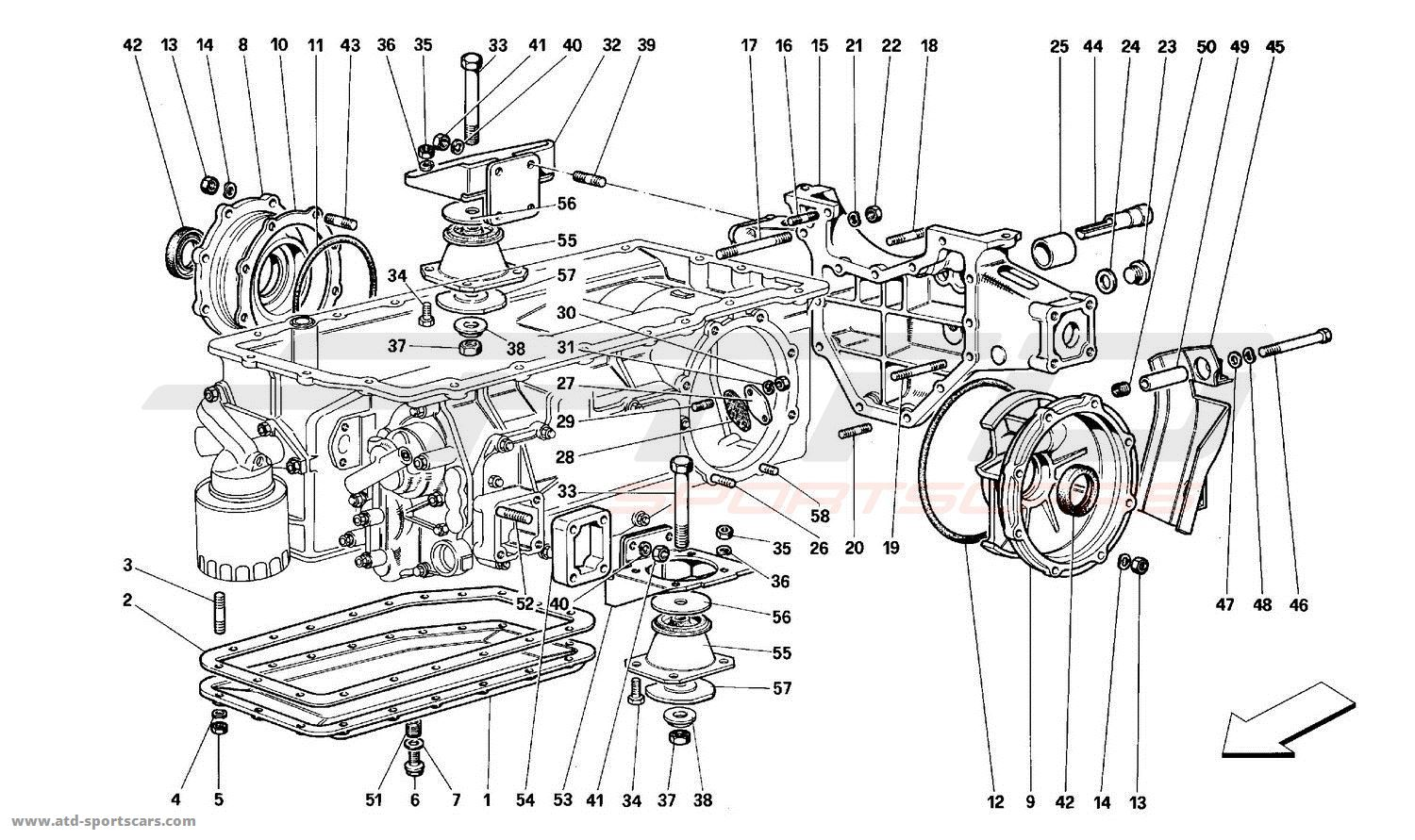 Ferrari 512TR GEARBOX - MOUNTING AND COVERS