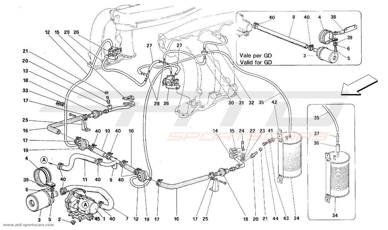 Ferrari 512TR SECONDARY AIR PUMP AND LINES
