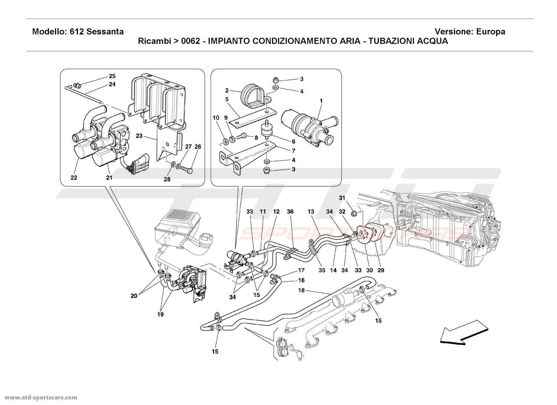 Ferrari 612 Sessanta AIR CONDITIONING SYSTEM - WATER PIPES