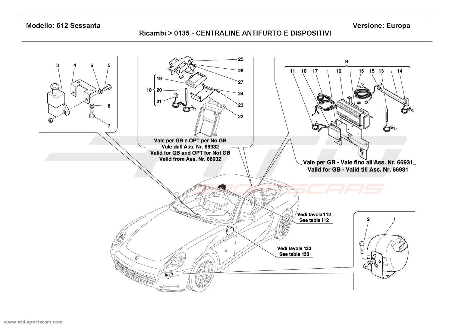 Ferrari 612 Sessanta ANTI-THEFT ELECTRICAL BOARDS AND DEVICES