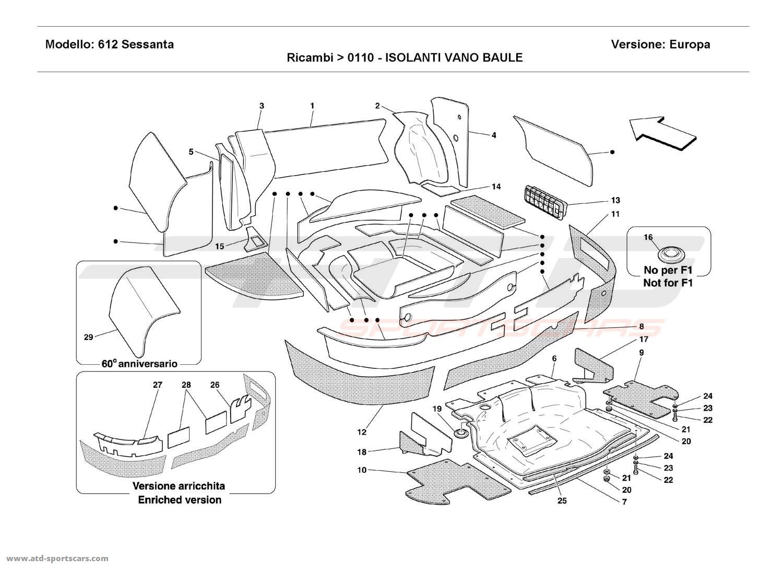 Ferrari 612 Sessanta BOOT INSULATION