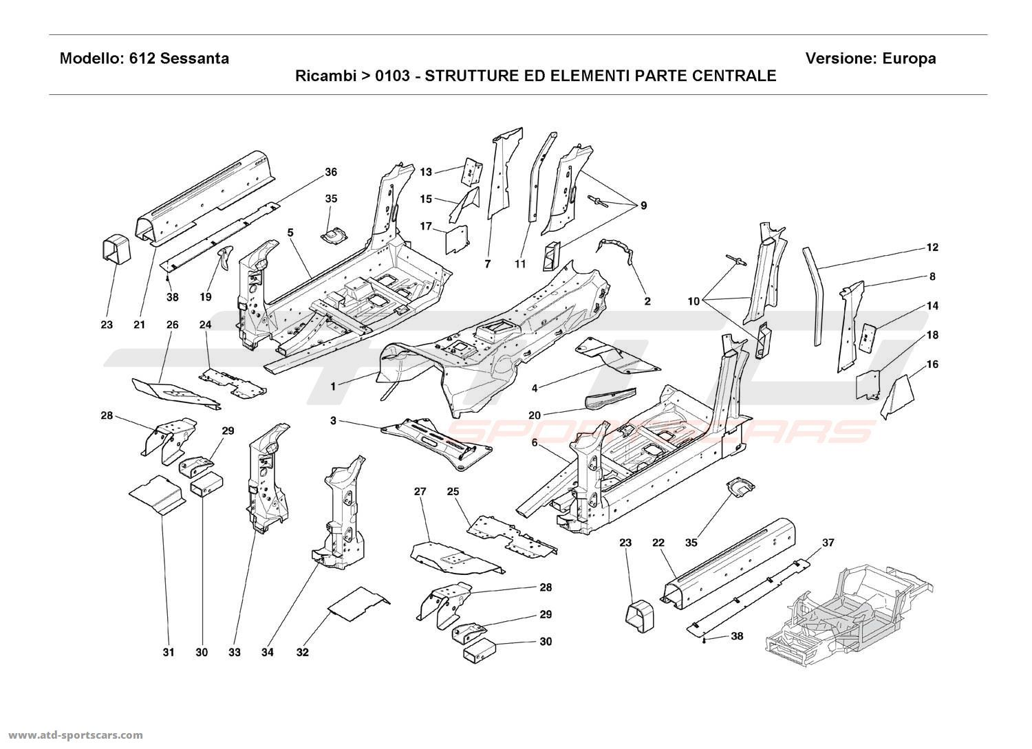 Ferrari 612 Sessanta CENTRAL STRUCTURES AND COMPONENTS