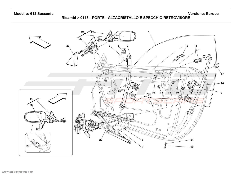 Ferrari 612 Sessanta DOORS - POWER WINDOW AND REARVIEW MIRROR