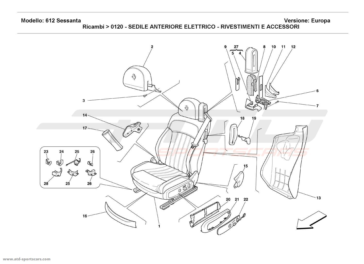 Ferrari 612 Sessanta ELECTRICAL FRONT SEAT - COVERINGS AND ACCESSORIES