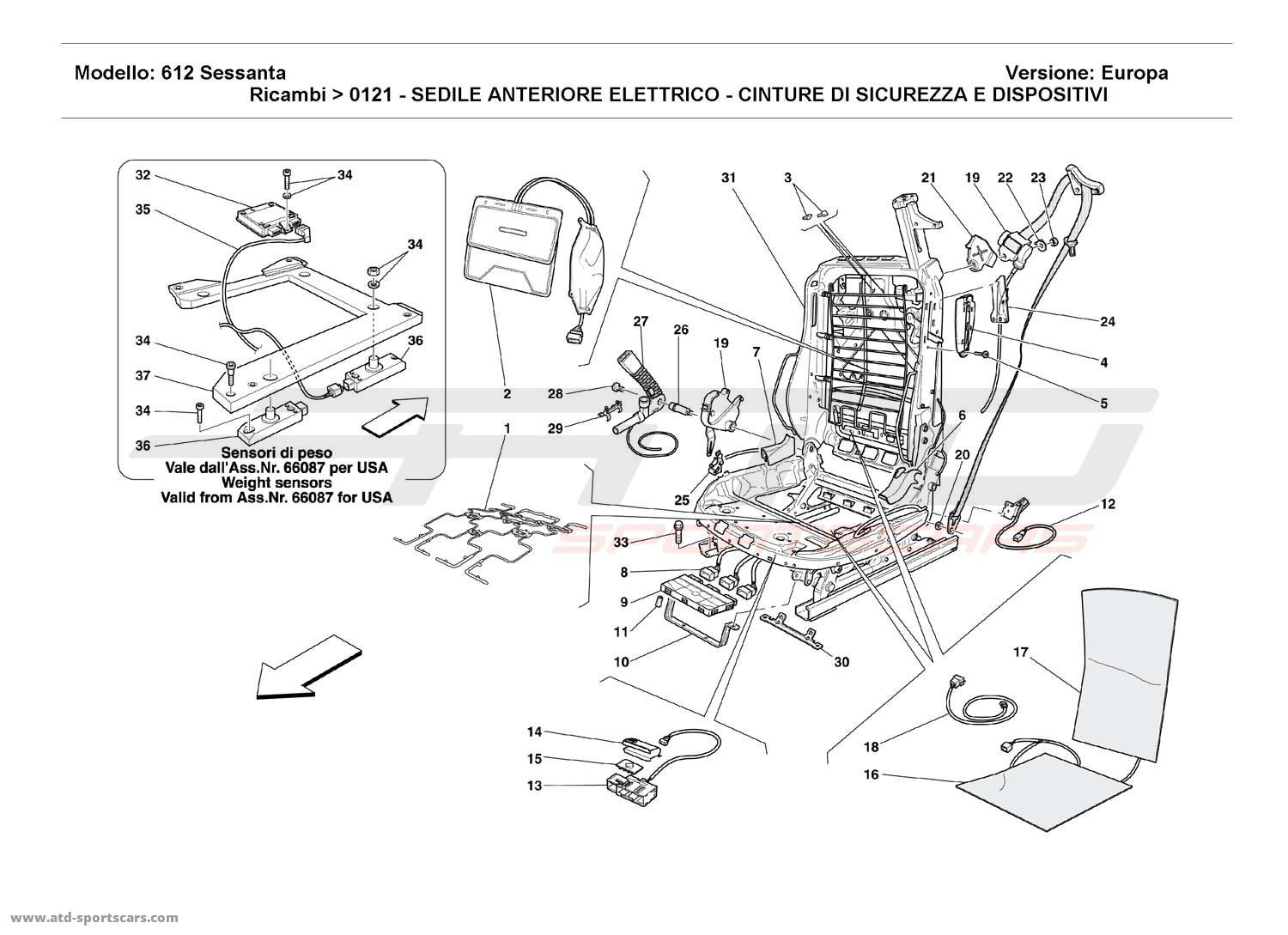Ferrari 612 Sessanta ELECTRICAL FRONT SEAT - SAFETY BELTS AND DEVICES