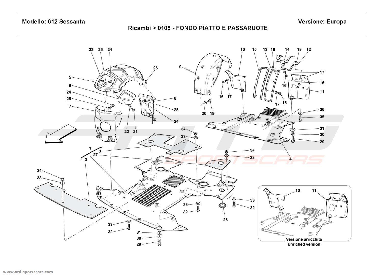 Ferrari 612 Sessanta FLAT FLOOR PAN AND WHEELHOUSES