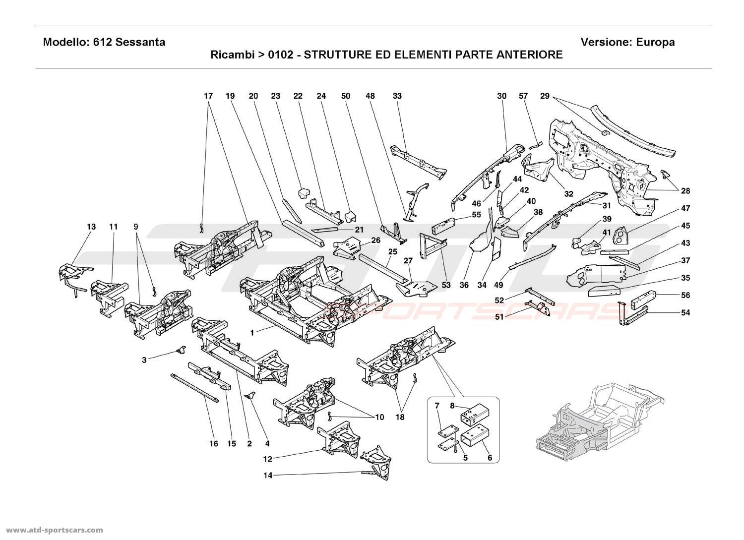 Ferrari 612 Sessanta FRONT STRUCTURES AND COMPONENTS