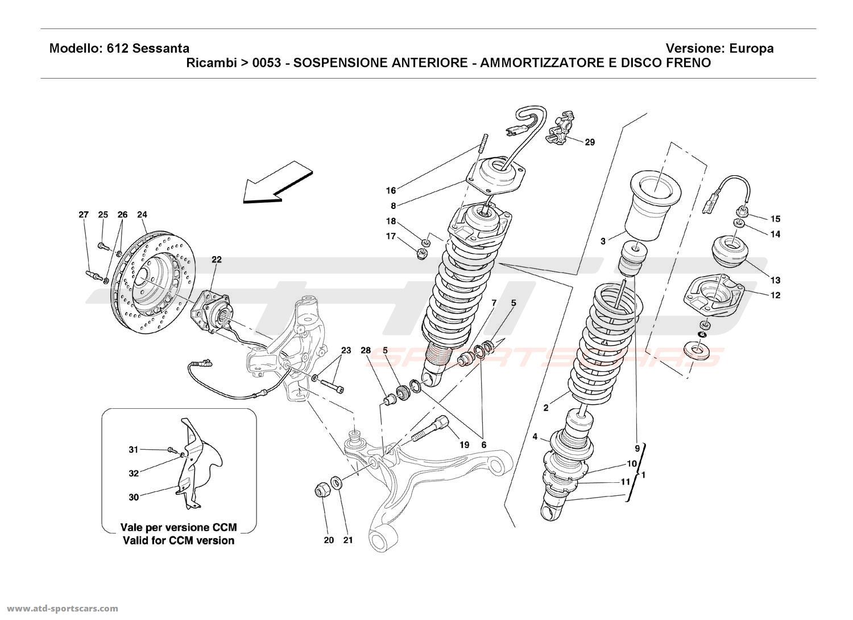 Ferrari 612 Sessanta FRONT SUSPENSION - SHOCK ABSORBER AND BRAKE DISC
