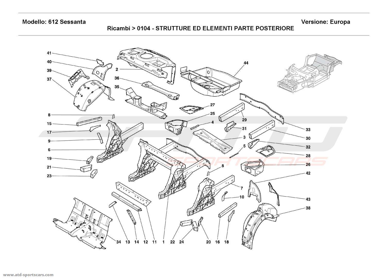 Ferrari 612 Sessanta REAR STRUCTURES AND COMPONENTS