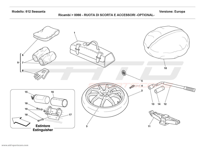 Ferrari 612 Sessanta SPARE WHEEL AND ACCESSORIES