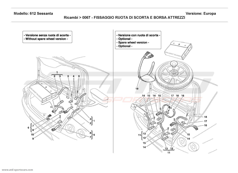 Ferrari 612 Sessanta SPARE WHEEL AND TOOL KIT BAG FIXINGS