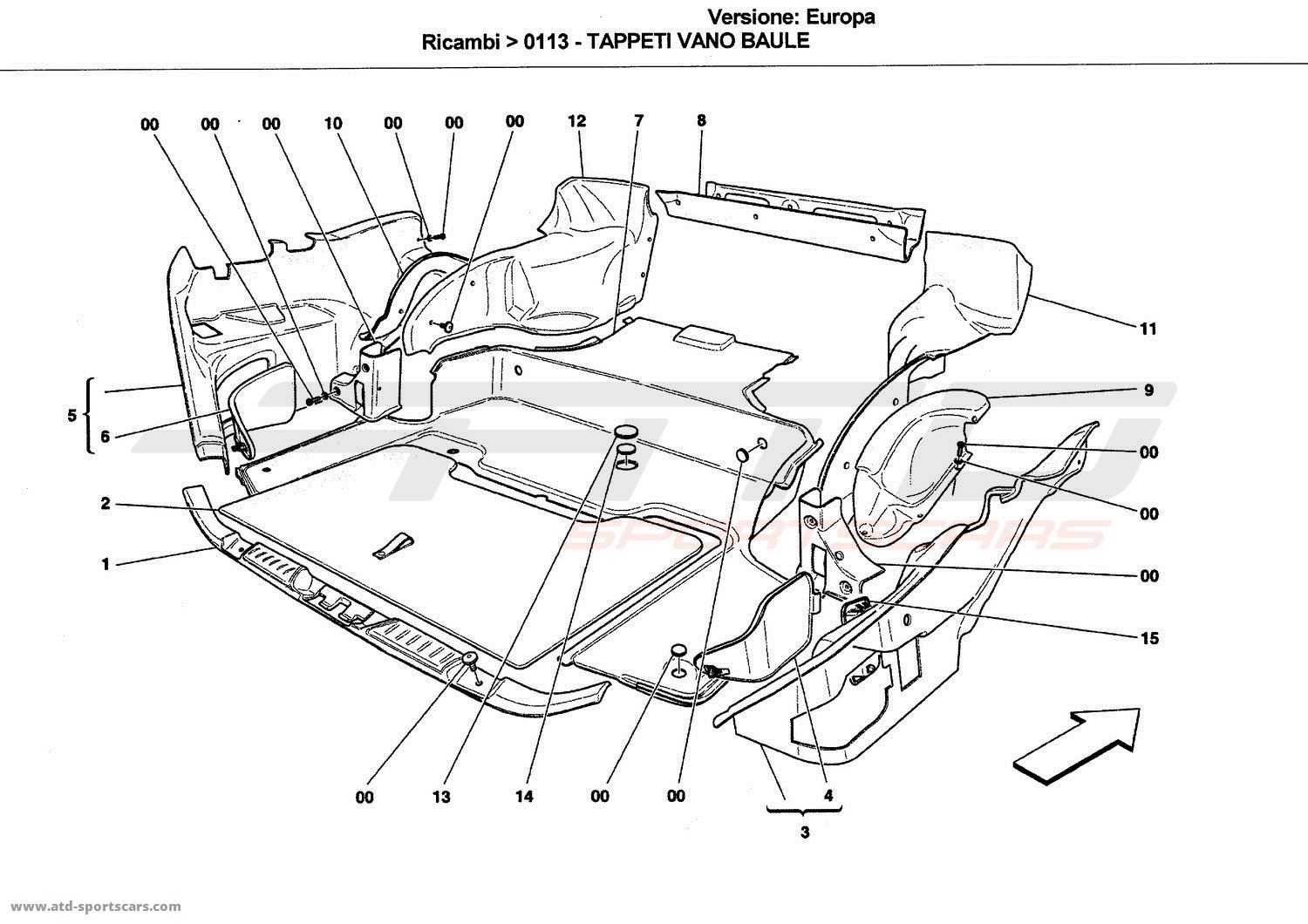 Ferrari California Luggage Compartment Mats Parts At Atd Sportscars Mariner Outboard Wiring Diagram