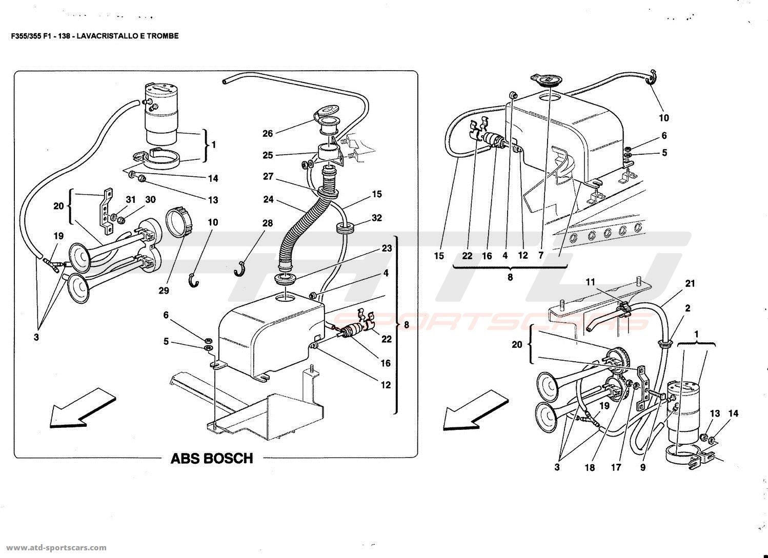 Ferrari F355 5 2 Et F1 Glass Washer And Horns Parts At Atd Sportscars Atd Sportscars