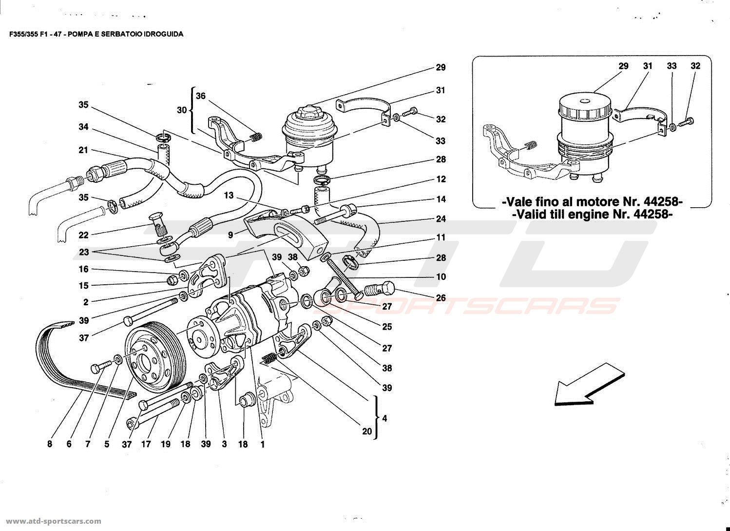 Ferrari F355 5 2 Et F1 Hydraulic Steering Pump And Tank