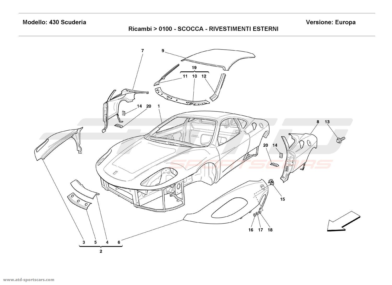 Ferrari Parts Diagram Wiring Harness Schematics W8 Engine F430 Scuderia Body Outer Trims At Atd Sportscars Rh Com