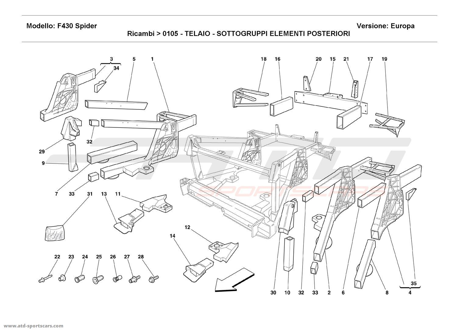 FRAME - REAR ELEMENTS SUB-GROUPS