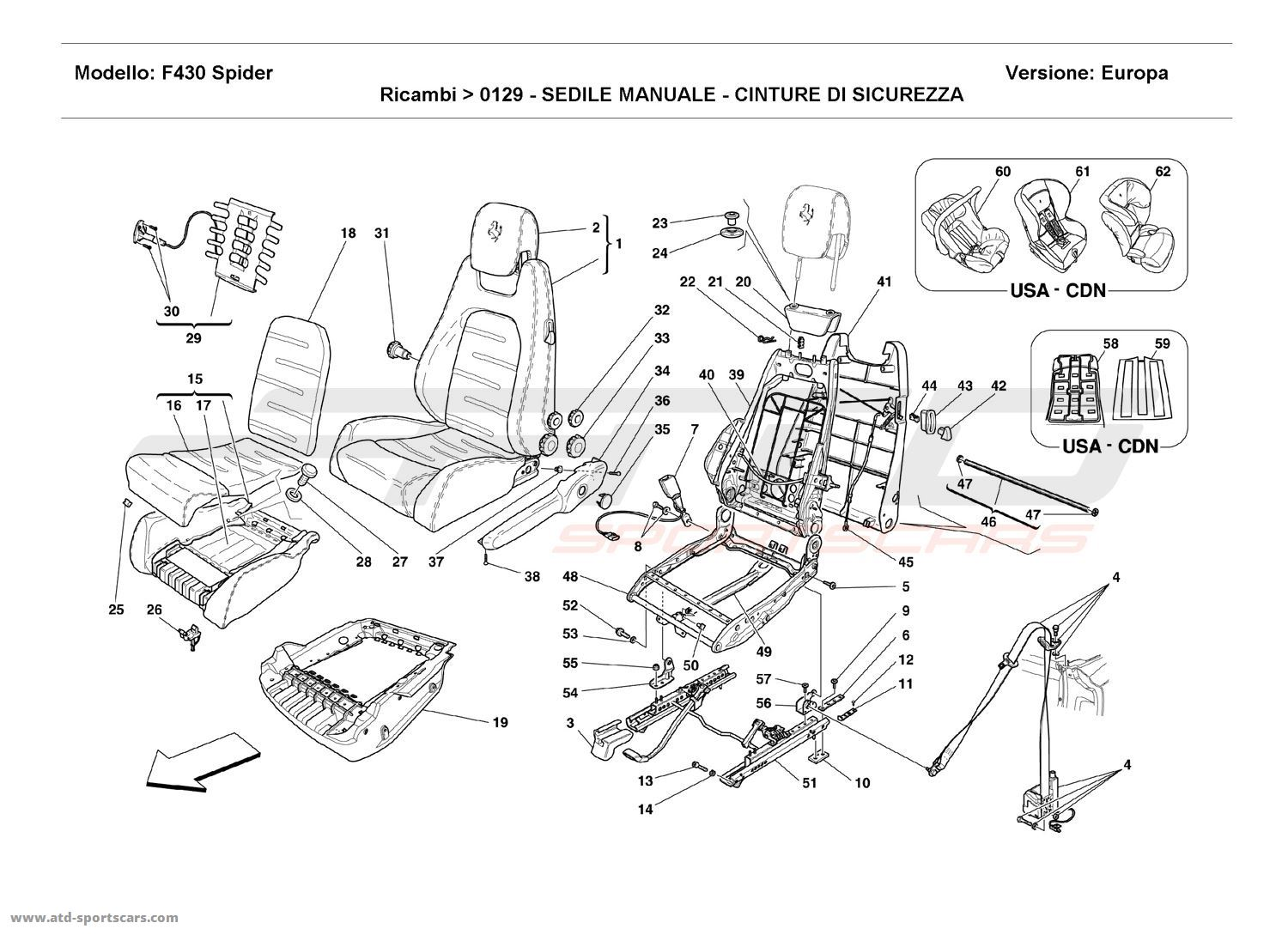 Ferrari F430 Spider Interior Parts At Atd Sportscars Wiring Diagram 8 Manual Seat Safety Belts