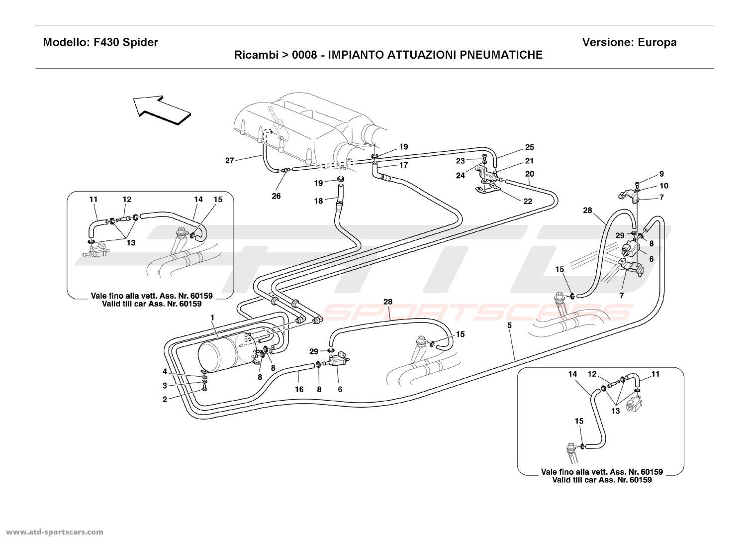 Ferrari F430 Spider Pneumatics Actuator System Parts At