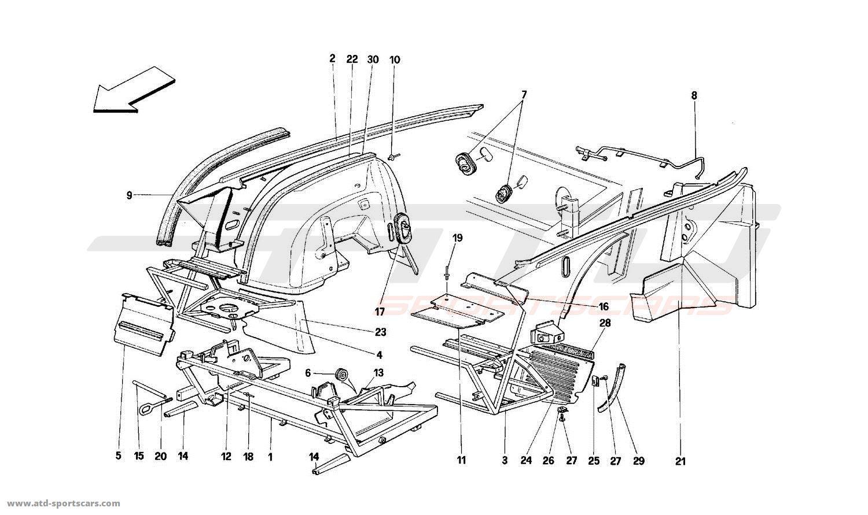 ferrari mondial t structural frames parts at atd. Black Bedroom Furniture Sets. Home Design Ideas