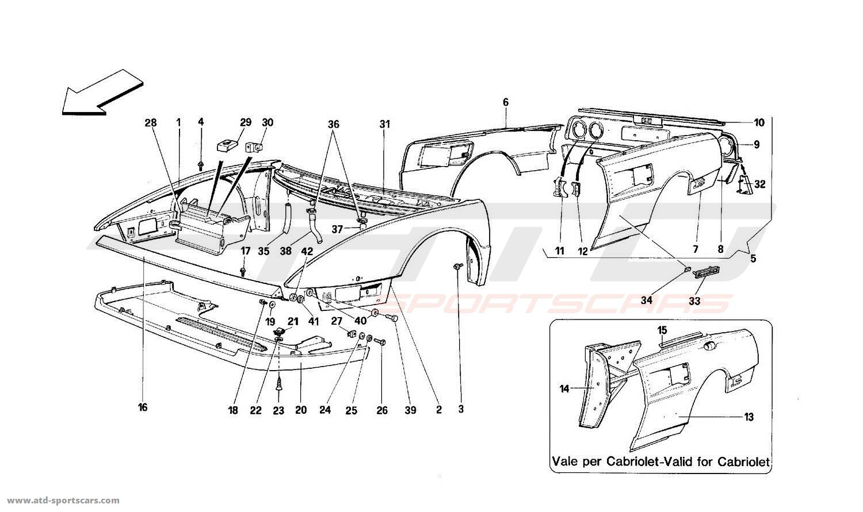 ferrari mondial t structural frames parts at atd sportscars atd sportscars. Black Bedroom Furniture Sets. Home Design Ideas