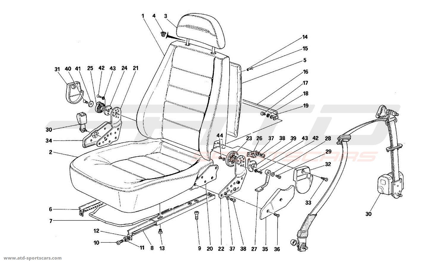 ferrari mondial t front seats parts at atd sportscars atd sportscars. Black Bedroom Furniture Sets. Home Design Ideas