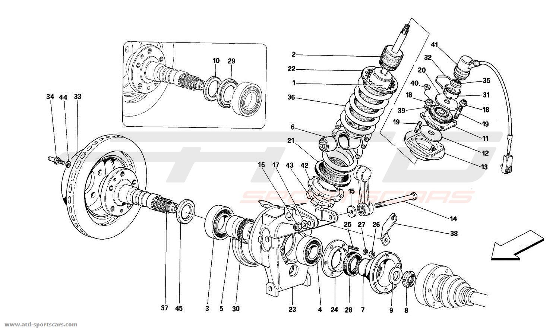ferrari mondial t rear suspension shock absorber and brake disc parts at at. Black Bedroom Furniture Sets. Home Design Ideas