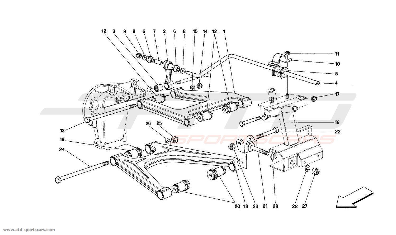 ferrari mondial t rear suspension wishbones parts at atd sportscars atd sportscars. Black Bedroom Furniture Sets. Home Design Ideas