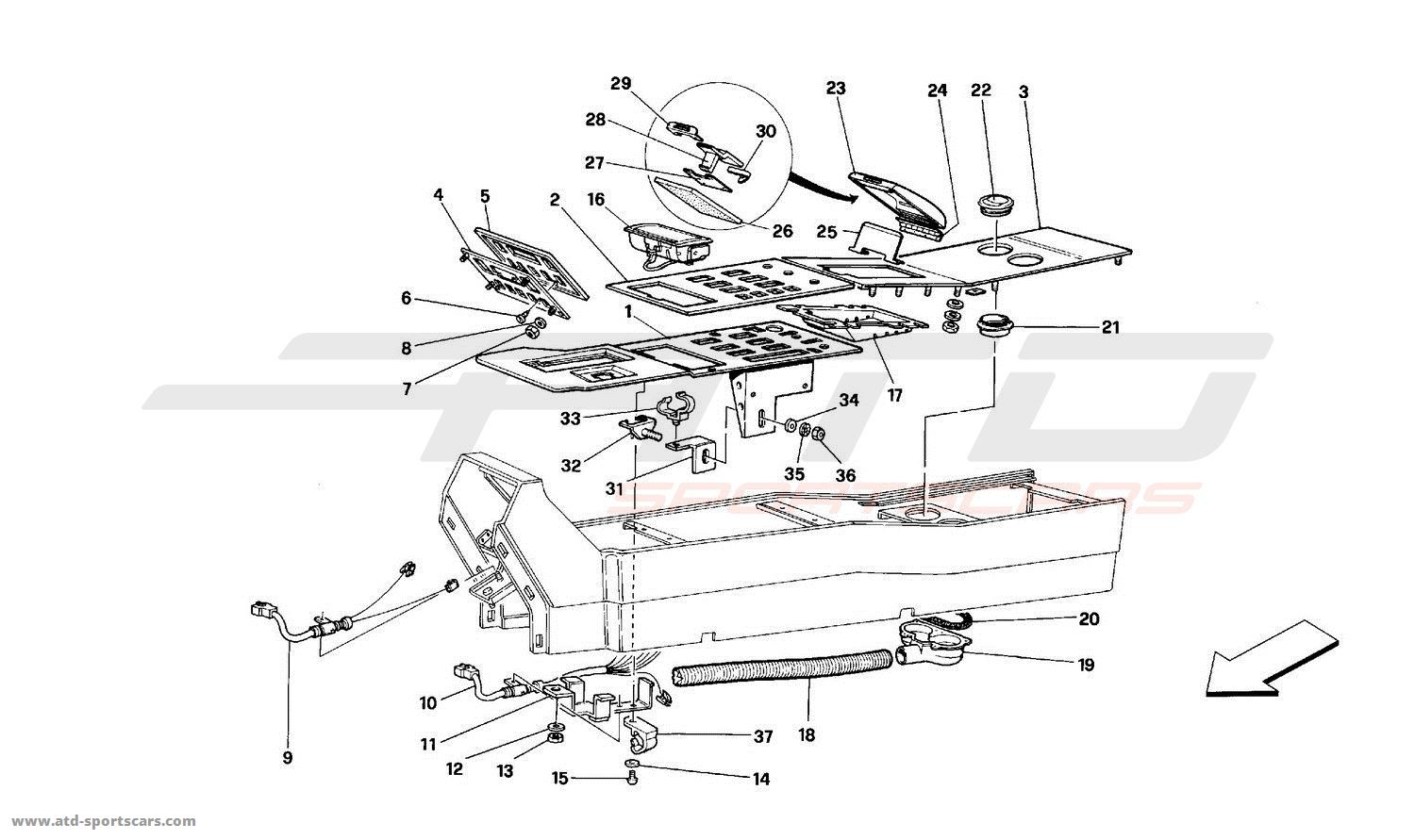 ferrari mondial t tunnel components coup parts at atd sportscars atd. Black Bedroom Furniture Sets. Home Design Ideas