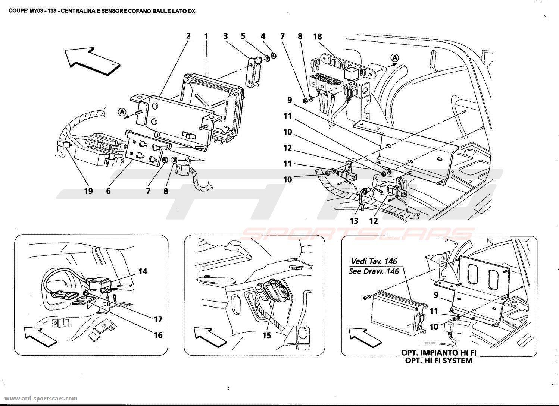 maserati 4200 gt coup u00e9 2003 r h  side trunk bonnet sensor
