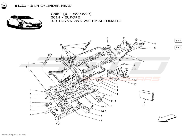 Maserati Ghibli V6 30l Diesel Auto 2014 Lh Cylinder Head Parts At Engine Diagram