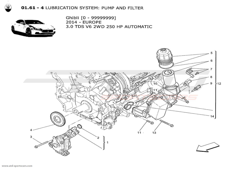 ... Ghibli V6 3.0L Diesel Auto 2014 LUBRICATION SYSTEM: PUMP AND FILTER: https://www.atd-sportscars.com/en/maserati-ghibli-v6-3-0l-diesel-auto-2014-engine.html