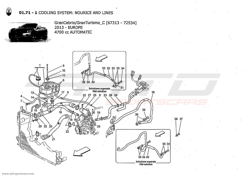 maserati granturismo grancabrio 4,7l auto 2013 cooling system: nourice and  lines