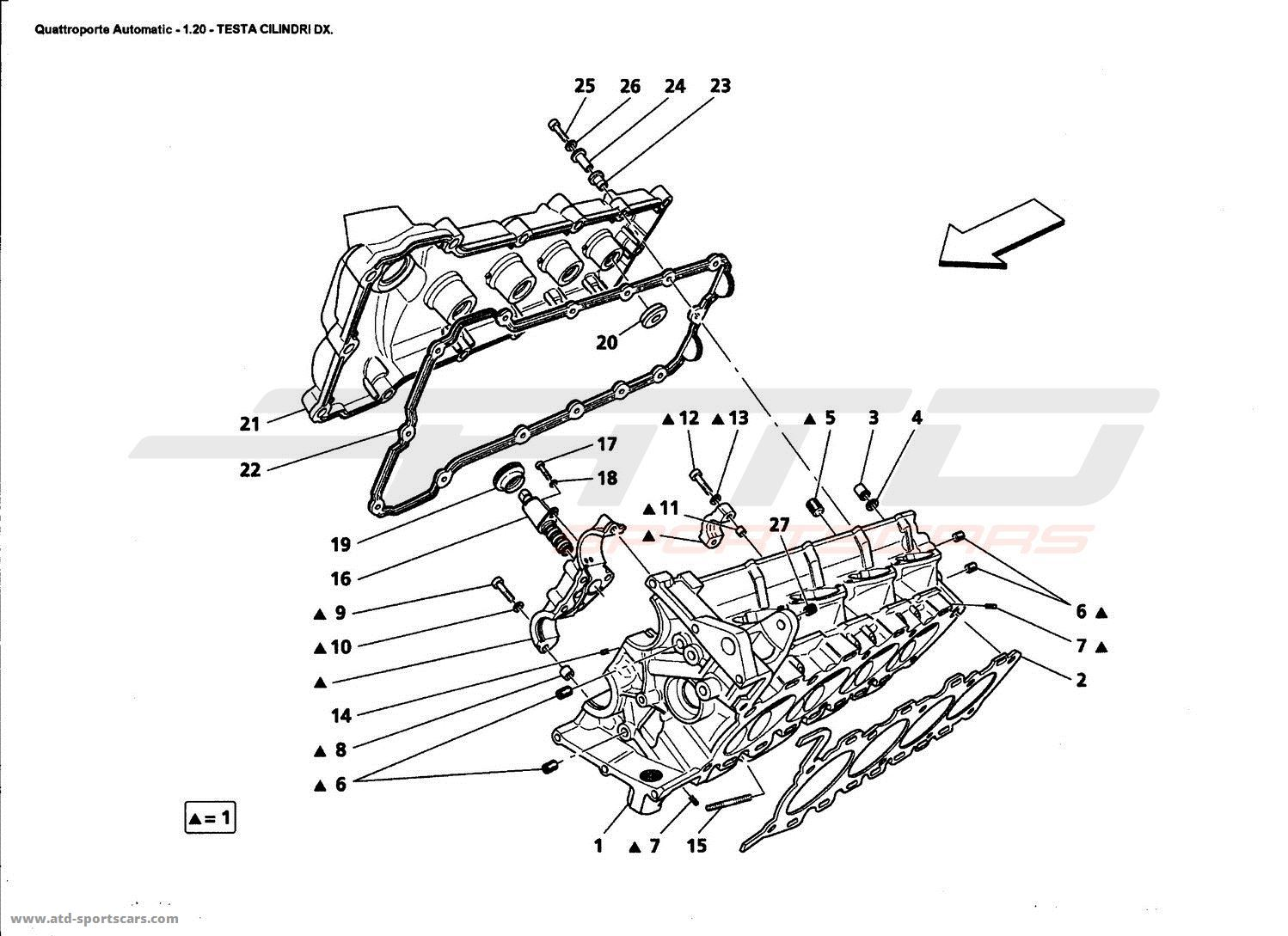 Maserati Quattroporte 42l Boite Auto 2006 Engine Parts At Atd 4 2l Diagram Rh Cylinder Head