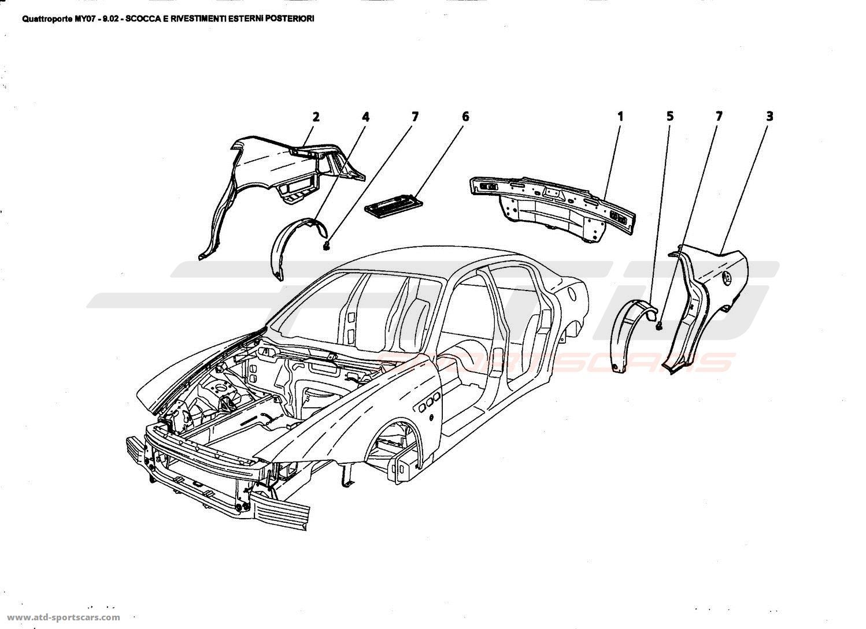 Maserati Quattroporte 4,2L Boite F1 2007 REAR OUTER STRUCTURES AND ...