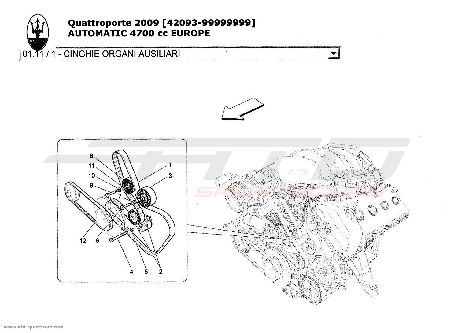 Maserati Quattroporte 47l Boite Auto 2009 Engine Parts At Atd 4 7l Diagram Valve Auxiliary Device Belts