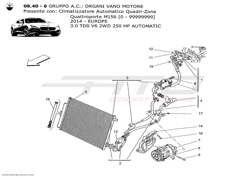 Maserati Quattroporte V6 3.0L Diesel Auto 2014 A/C UNIT: ENGINE COMPARTMENT  DEVICES