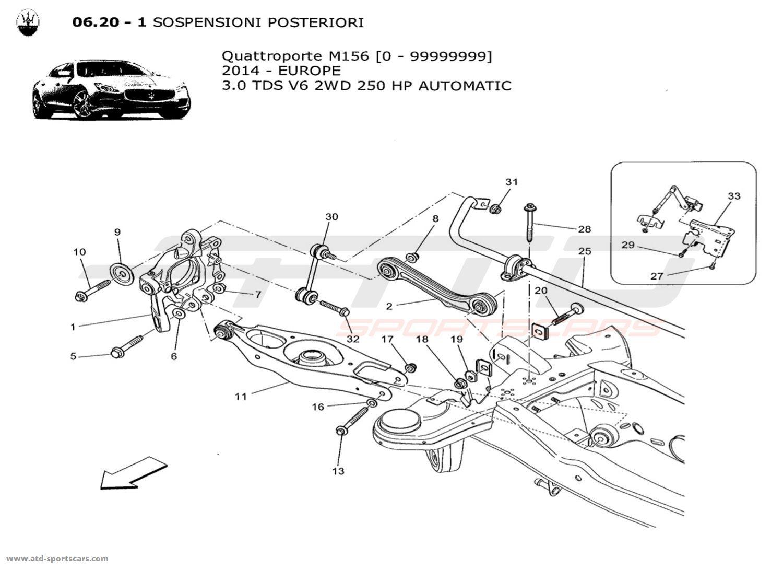 Maserati Quattroporte V6 3.0L Diesel Auto 2014 REAR SUSPENSION