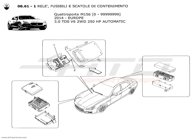 Maserati Quattroporte V6 3.0L Diesel Auto 2014 RELAYS. FUSES AND BOXES